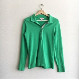 Lilly Pulitzer Polo Green Long Sleeve sz L